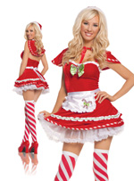 Candy Cane Cutie Red Velvet Mini-Dress Holiday Costume - S,M,L