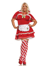 Candy Cane Cutie Red Velvet Mini-Dress Holiday Costume - Diva Sizes