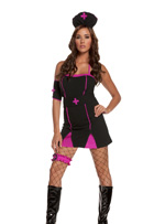 Gothic Pink Cross Naughty Nurse 4 piece Halloween Costume