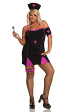 Gothic Pink Cross Naughty Nurse 4 piece Halloween Costume - Plus Size Diva