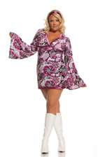 Get Your Groove On Girl 2 Pc Psychedelic Print Halloween Costume ~ Diva Sizes
