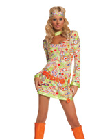 Love Child 3 Pc Psychedelic Print Dress Halloween Costume ~ XL