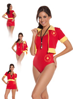 Beach Babe Lifeguard 4 Pc Sexy Halloween Costume