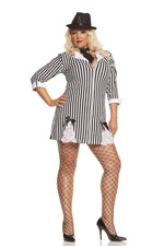 Gangster Girl Sexy 3 Piece Halloween Costume - Diva Sizes