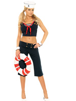 Feisty First Mate Sexy Sailor 5 Pc Halloween Costume - Large