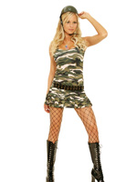 Camo Cutie Army Girl 4 Pc Camouflage Halloween Costume - S,M,L