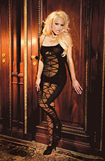 Black Opaque Bodystocking / Catsuit with Criss Cross Cutouts and Open Crotch