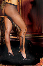 Black Tiger Tattoo-Look Sheer Waist High Pantyhose Stockings, One Size, Black