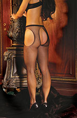 Suspender Style Fishnet Waist High Pantyhose Stockings, Black