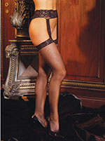 Thigh Hi Fishnet Style with Attached Lace Garterbelt, Queen Size, Black