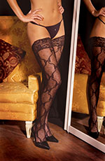 Bow/Butterfly Lace Design Thigh Hi Stockings with Lace Top, One Size, Black