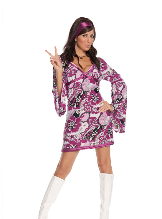 Get Your Groove On Girl 2 Pc Psychedelic Print Halloween Costume ~ S-L