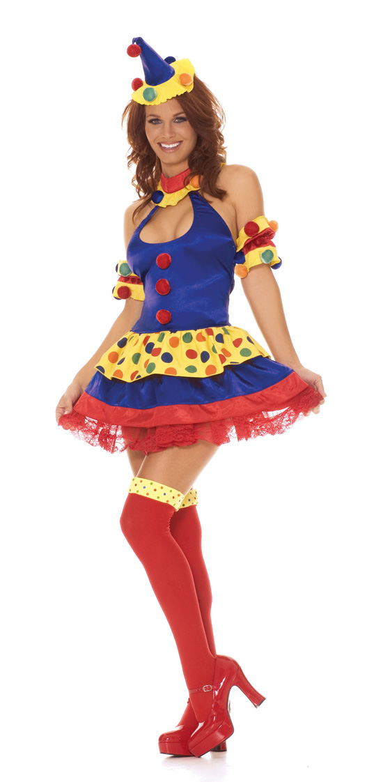The Clown's In Town Sexy 4 Piece Halloween Costume - XS,M,L