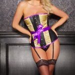 Black Leather & Golden Brocade & Purple Trim Boned Corset & G-String Ensemble - S,M,L,XL
