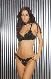 Black Leather Studded Front Thong Panty - O/S, Queen