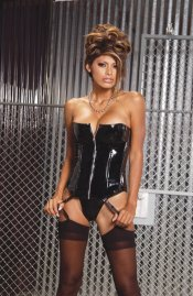 Black Shiny Vinyl Zipper Front Boned Corset Bustier & Thong Panty Set ~ 32-44